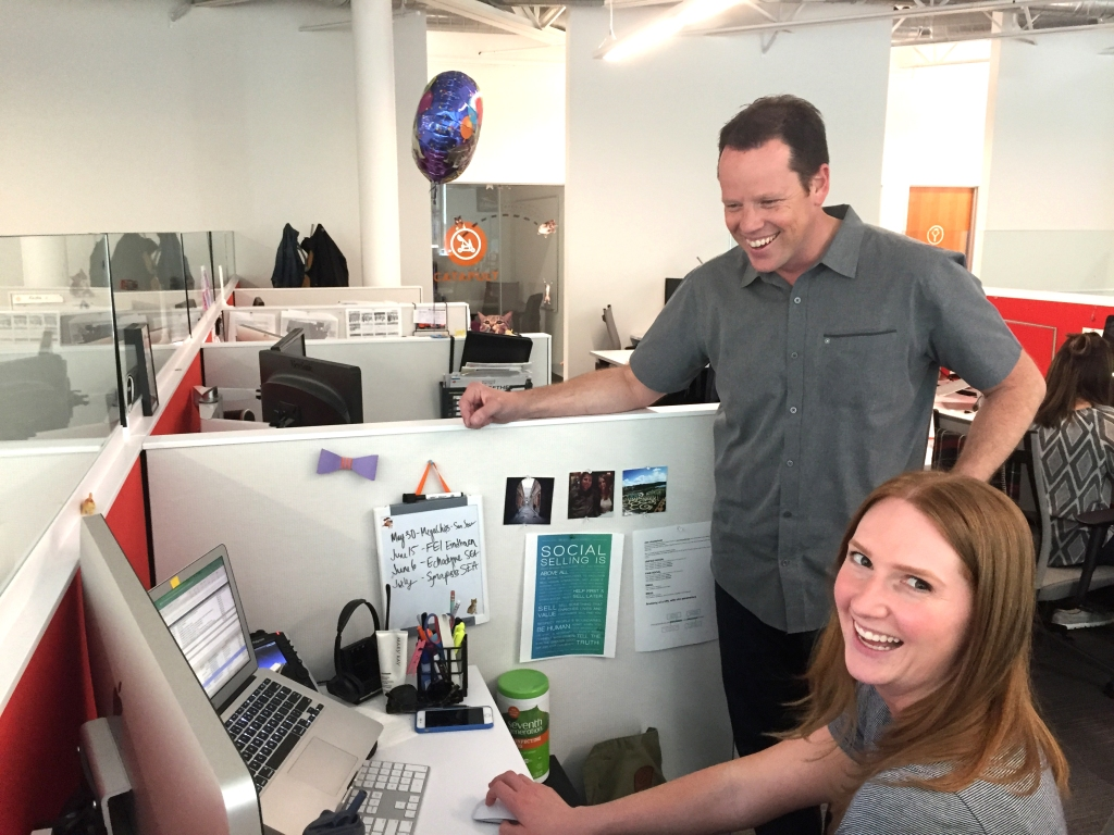 Scott Roth with a Jama employee