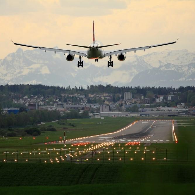 Airplane landing on tarmac